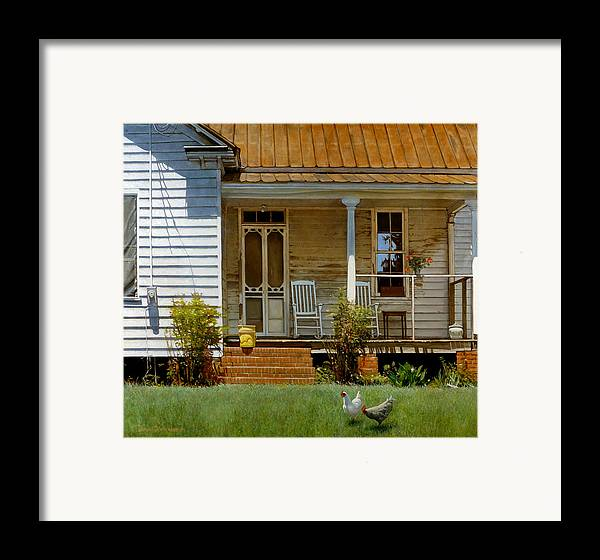 Doug Strickland Framed Print featuring the painting Geraniums On A Country Porch by Doug Strickland