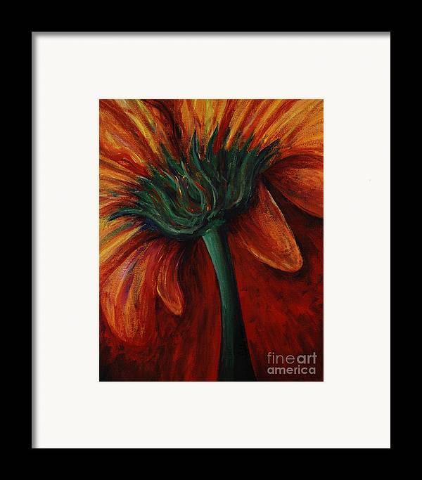Gerbera Daisy.daisy Framed Print featuring the painting Gerbera Daisy by Nadine Rippelmeyer
