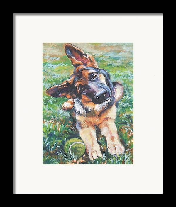 Dog Framed Print featuring the painting German Shepherd Pup With Ball by Lee Ann Shepard