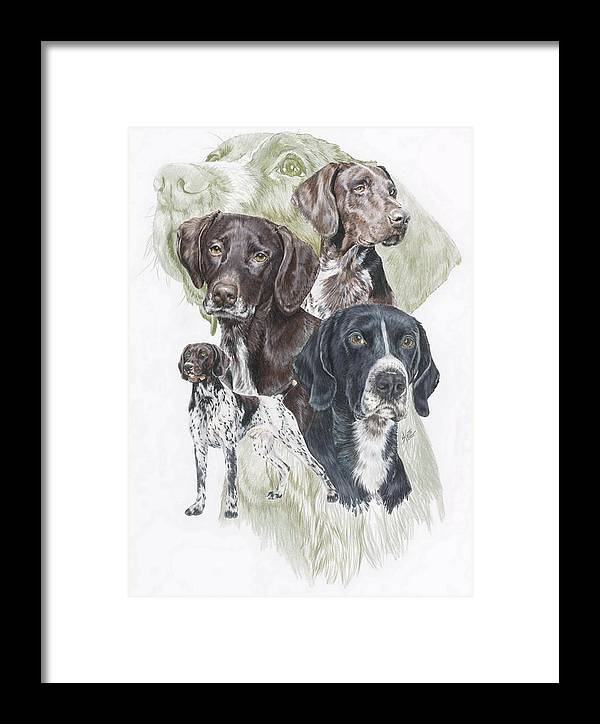 Gshp Framed Print featuring the mixed media German Shorted-haired Pointer Revamp by Barbara Keith