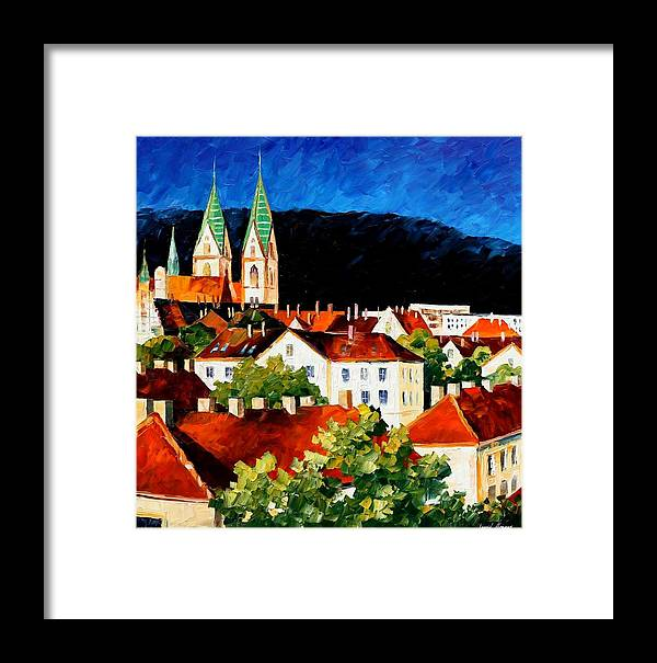City Framed Print featuring the painting Germany - Freiburg by Leonid Afremov