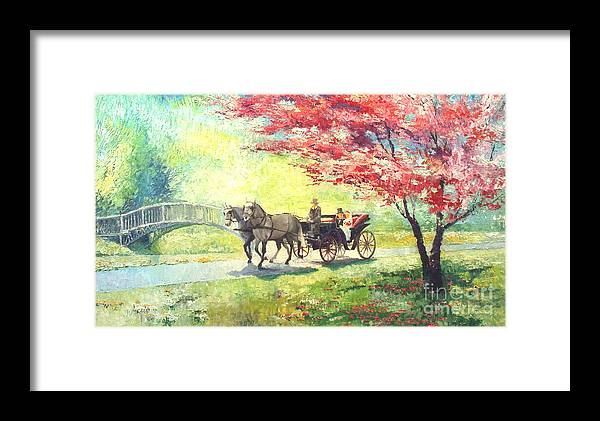 Allee Framed Print featuring the painting Germany Baden-baden Lichtentaler Allee Spring 2 by Yuriy Shevchuk