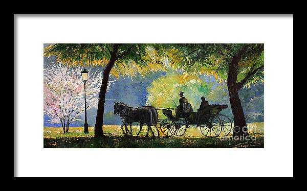 Oil Framed Print featuring the painting Germany Baden-baden Lichtentaler Allee Spring by Yuriy Shevchuk