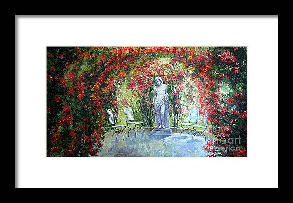 Oil Framed Print featuring the painting Germany Baden-baden Rosengarten 02 by Yuriy Shevchuk