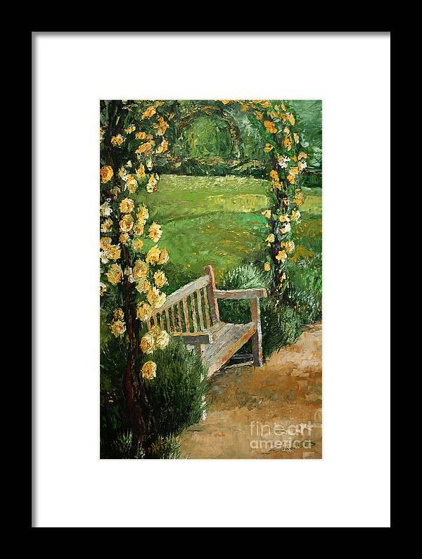 Oil Framed Print featuring the painting Germany Baden-baden Rosengarten by Yuriy Shevchuk