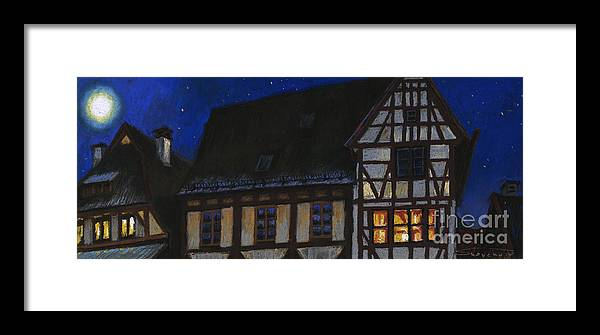 Pastel Framed Print featuring the painting Germany Ulm Fischer Viertel Moonroofs by Yuriy Shevchuk