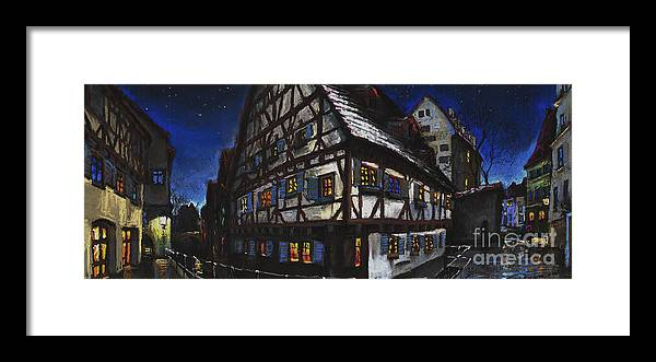 Pastel Framed Print featuring the painting Germany Ulm Fischer Viertel Schwor-Haus by Yuriy Shevchuk
