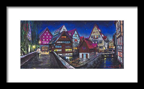 Pastel Framed Print featuring the painting Germany Ulm Fischer Viertel by Yuriy Shevchuk