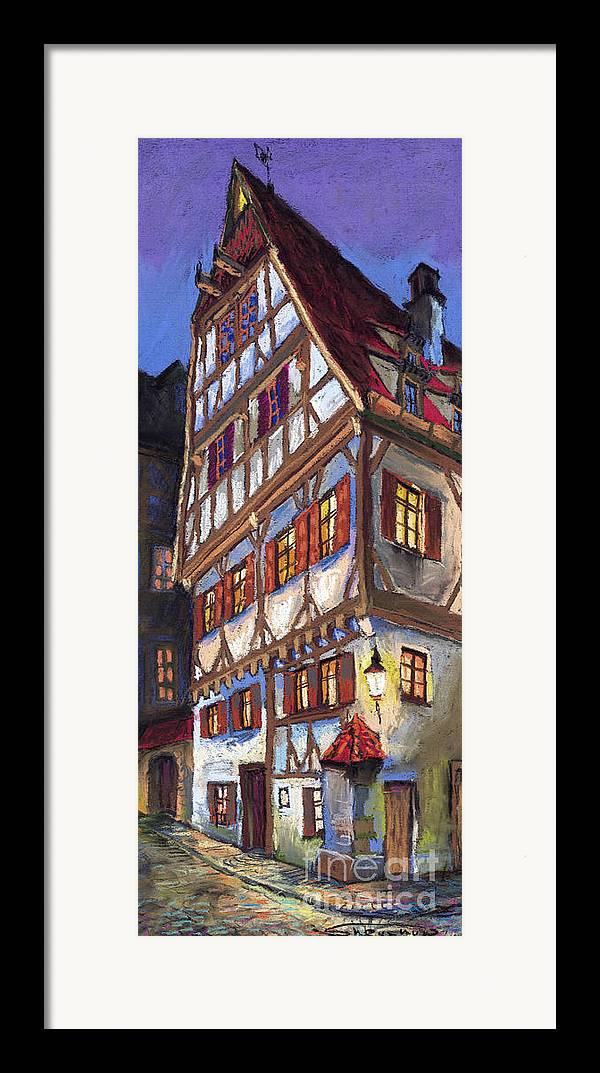 Pastel Framed Print featuring the painting Germany Ulm Old Street by Yuriy Shevchuk