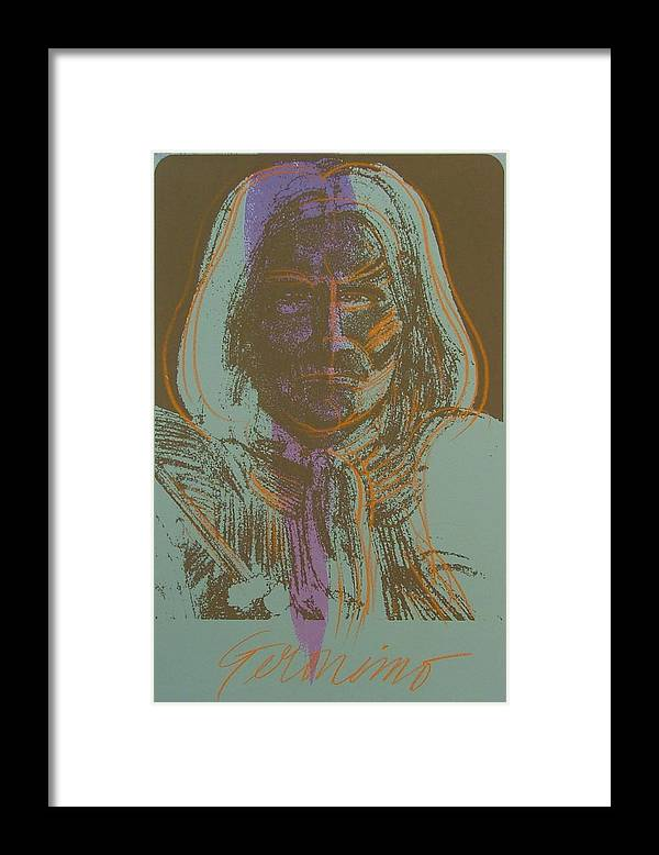 Indian Framed Print featuring the painting Geronimo by Gary Kaemmer