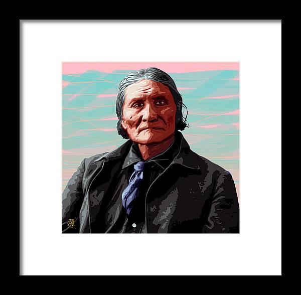 Digital Print Framed Print featuring the digital art Geronimo by John Helgeson