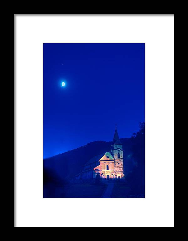 Croatia Framed Print featuring the photograph Gerovo Church By Moonlight by Don Wolf