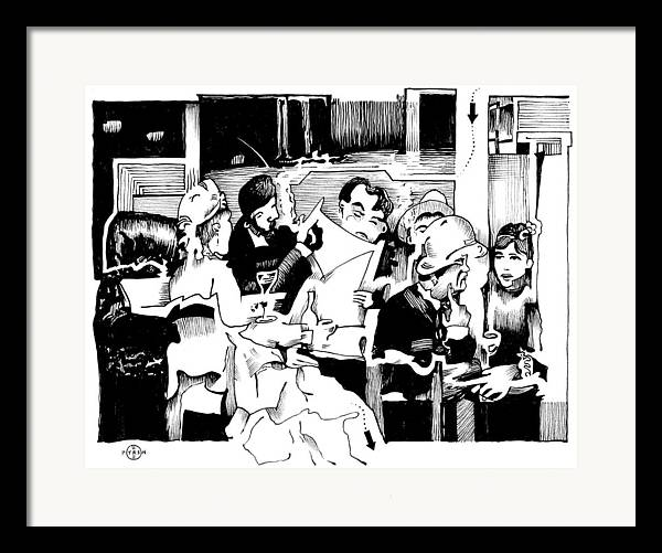Paris Cafe Scene Framed Print featuring the drawing Gervex Paris Cafe by Gary Peterson