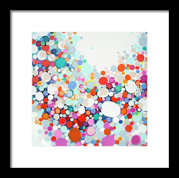 Abstract Framed Print featuring the painting Get Home Late by Claire Desjardins