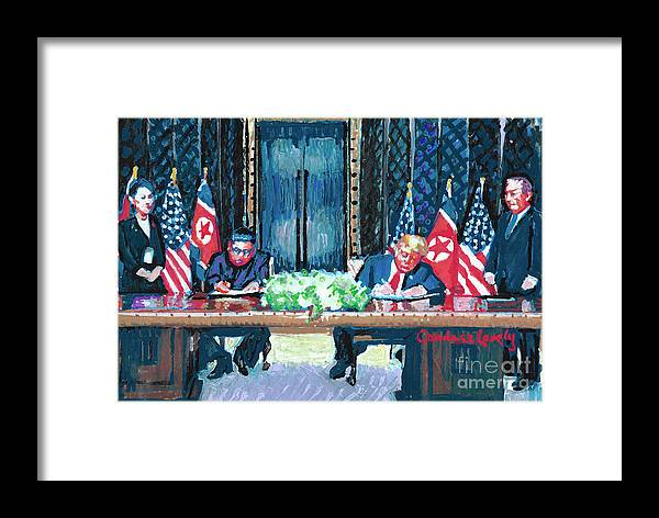 President Donald Trump Framed Print featuring the painting Get It In Writing by Candace Lovely