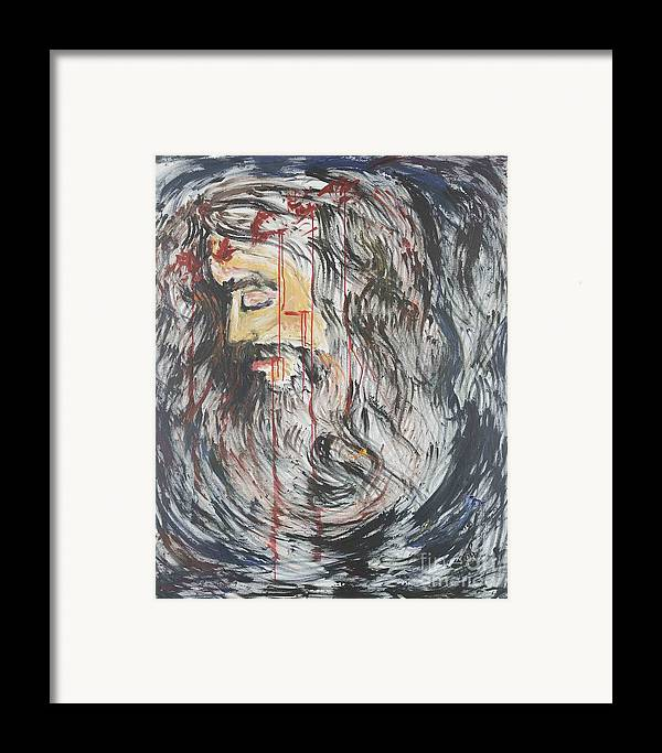 Jesus Framed Print featuring the painting Gethsemane To Golgotha IIi by Nadine Rippelmeyer