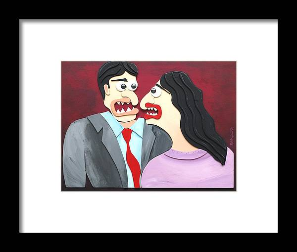 Funism Framed Print featuring the painting Getting Acquainted by Sal Marino