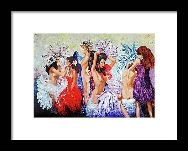 Women Framed Print featuring the painting Getting Ready by Jose Manuel Abraham