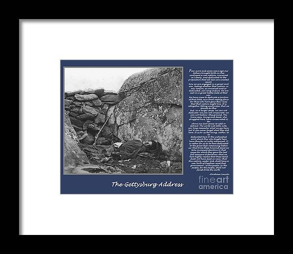 Gettysburg Framed Print featuring the digital art Gettysburg Address Civil War Devils Den by Randy Steele