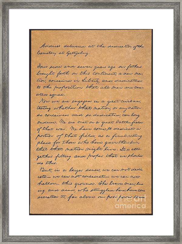 graphic relating to Gettysburg Address Printable named Gettysburg Deal with Framed Print