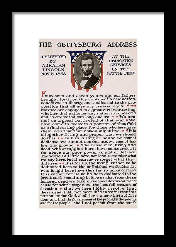 gettysburg Address Framed Print featuring the photograph Gettysburg Address by International Images