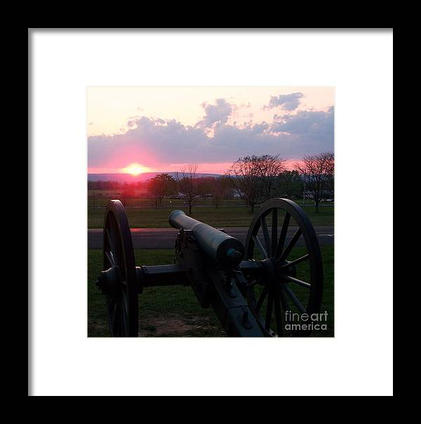 Gettysburg Cannon Framed Print featuring the painting Gettysburg Cannon by Eric Schiabor