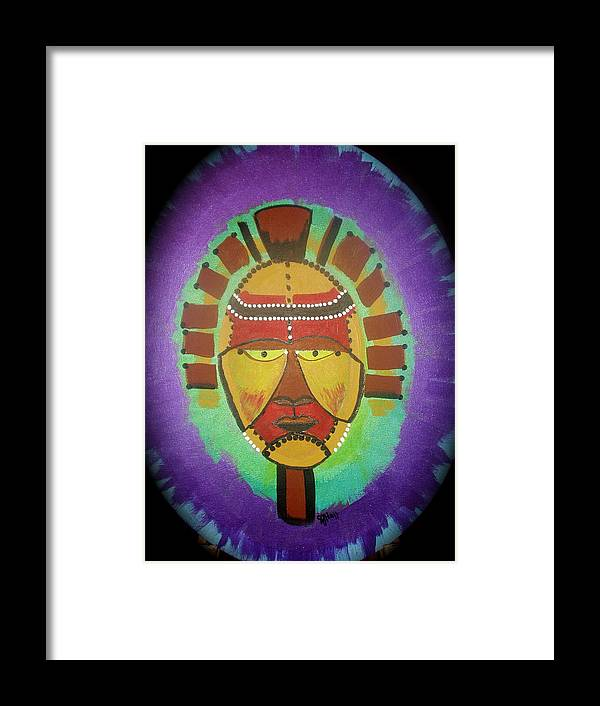 Mask Framed Print featuring the painting Ghana Mask by Sheila J Hall