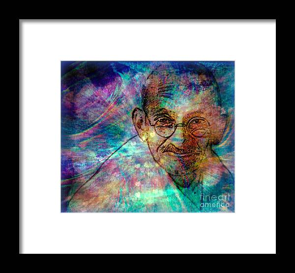 World Leaders Framed Print featuring the painting Ghandi by Wbk