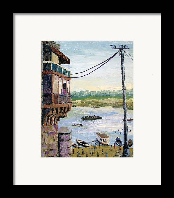 Ghats Framed Print featuring the painting Ghats From Above by Art Nomad Sandra Hansen