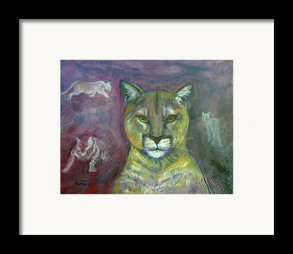 Wildlife Framed Print featuring the painting Ghost Cat by Darla Joy Johnson