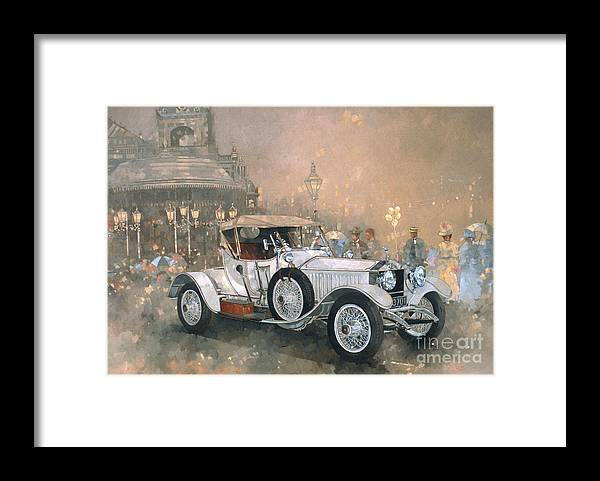Seaside; Evening; Promenade; Car; Automobile; Rolls Royce; Vintage; Bandstand; Classic Cars; Vintage Cars; Nostalgia; Resort; Old Timer ; Scarborough Framed Print featuring the painting Ghost in Scarborough by Peter Miller