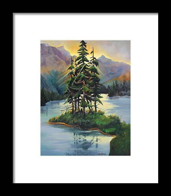 Landscape Framed Print featuring the painting Ghost Island Near Jasper by Marta Styk