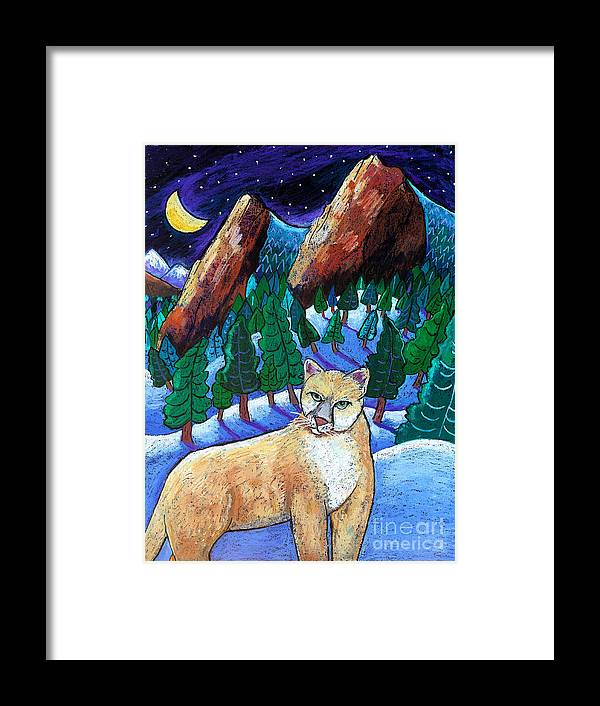 Cougar Framed Print featuring the painting Ghost Of The Night by Harriet Peck Taylor