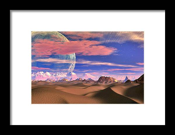 David Jackson Ghost World Alien Landscape Planets Scifi Framed Print featuring the digital art Ghost World by David Jackson