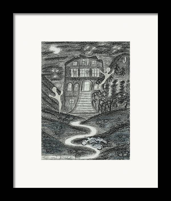 Ghosts Framed Print featuring the drawing Ghosts Night At The Jerome Grand Hotel by Ingrid Szabo