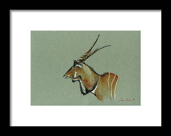 Eland Framed Print featuring the painting Giant Eland by Juan Bosco
