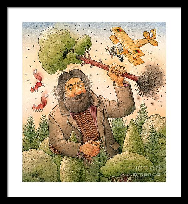 Giant Forest Landscape Tree Airplane Framed Print featuring the painting Giant by Kestutis Kasparavicius