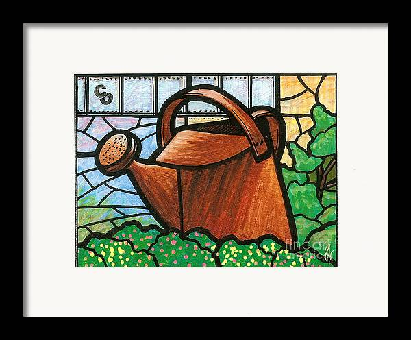 Gardening Framed Print featuring the painting Giant Watering Can Staunton Landmark by Jim Harris