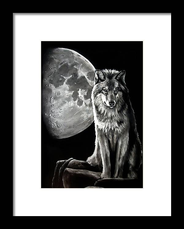 Drawing Framed Print featuring the drawing Gibbous Wolf by William Underwood