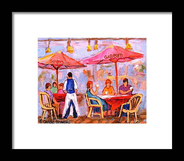 Gibbys Restaurant Montreal Street Scenes Framed Print featuring the painting Gibbys Cafe by Carole Spandau