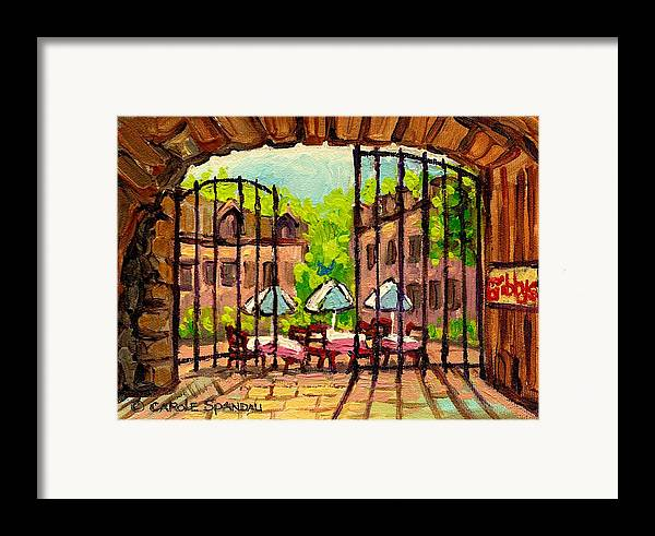 Gibbys Framed Print featuring the painting Gibbys Restaurant In Old Montreal by Carole Spandau