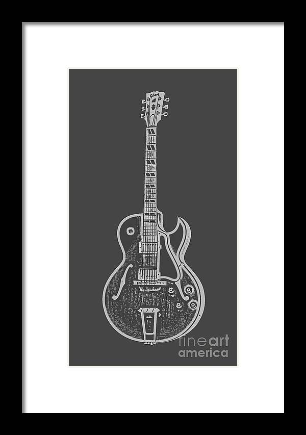 Instrument Framed Print featuring the digital art Gibson Es-175 Electric Guitar Tee by Edward Fielding
