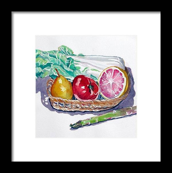 Still Life Framed Print featuring the painting Gift Basket by Jan Bennicoff