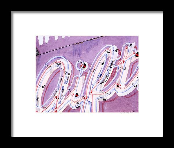 Neon Sign Framed Print featuring the painting Gift by Rob De Vries