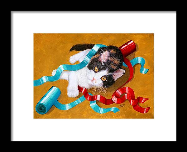 Kitty Framed Print featuring the mixed media Gift Wrapped Kitty by Lorraine Foster