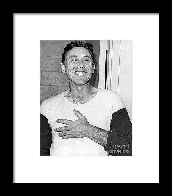 Gil Hodges; New York Post Prints; Baseball; Orioles; Mets; Baltimore; Ny Post; Nyp Prints; Black And White; World Series; Hall Of Famer; Hall Of Fame; William N. Jacobellis; 1969 Framed Print featuring the photograph Gil Hodges Flashing Smile After Win Against Orioles. 1969 by William Jacobellis