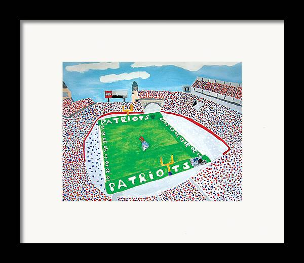 Gillette Stadium Framed Print featuring the painting Gillette Stadium by Jeff Caturano