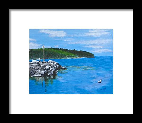 Gills Rock Framed Print featuring the painting Gills Rock by Peggy King