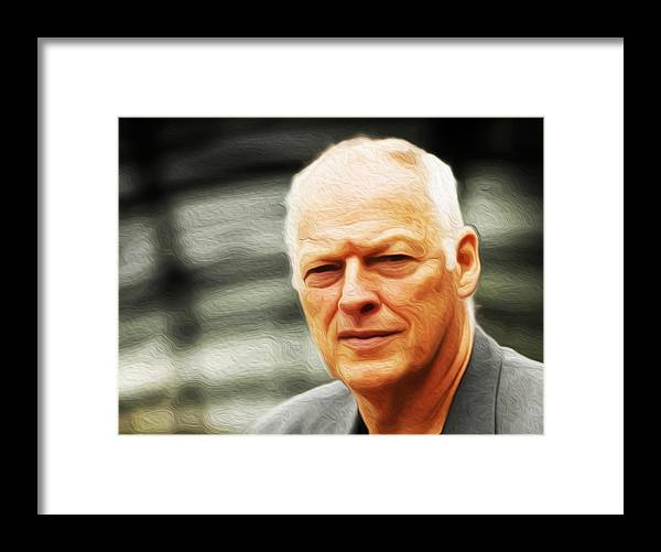 David Gilmour Framed Print featuring the painting Gilmour #103 By Nixo by Never Say Never