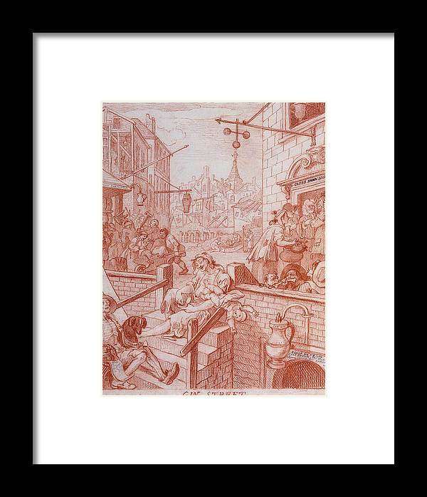 William Hogarth Framed Print featuring the drawing Gin Street by William Hogarth
